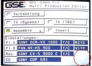 GSE MPE 2000 Pro Menu
