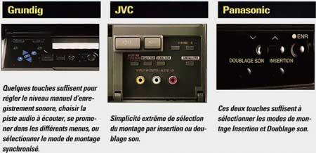 Table montage comparatif 3 magnétoscopes VHS