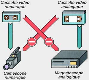 Cassette miniDV/Cassette analogique